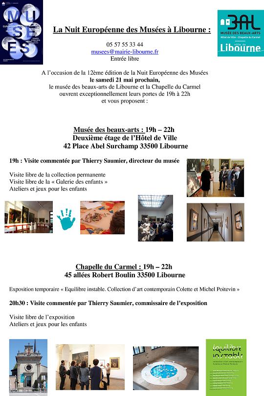 Nuit des mus es libourne site de l 39 office de tourisme du grand saint emilionnais - Office de tourisme libourne ...